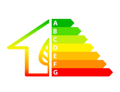 energy efficiency arrows and house icon ecology concept, stock vector illustration