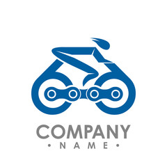 Bike and chain outline vector illustration. Bike race icon isolated. Bike rescuer logo symbol. Bike logo for bicycle design