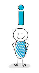 Smiley stickman with information sign icon. Vector.