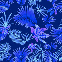 Blue Seamless pattern tropical leaves of palm tree.