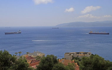 ships in the channel between Gibraltar and Algeciras
