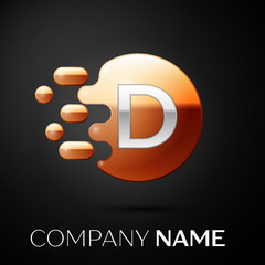 Silver Letter D logo. Gold dots splash and abstract liquid bubble shape on black background. Vector template for your design