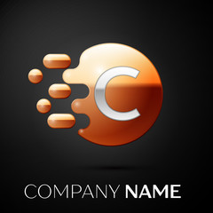 Silver Letter C logo. Gold dots splash and abstract liquid bubble shape on black background. Vector template for your design