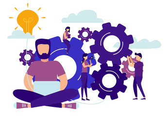 Business flat company office, rise career to success, abstract office person filled with ideas thoughts. Vector illustration