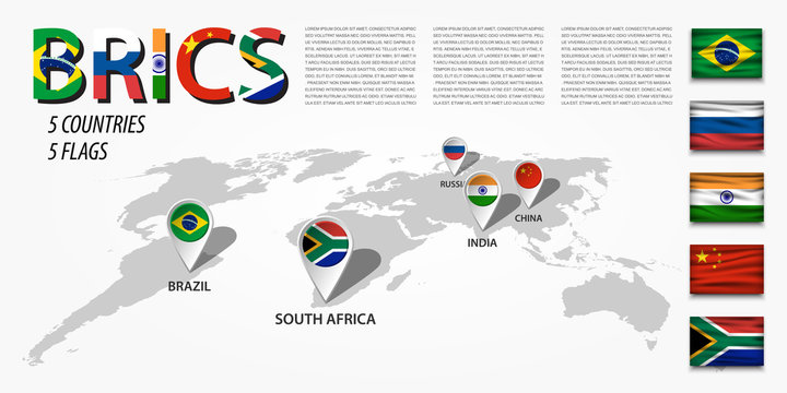 BRICS . association of 5 countries ( brazil . russia . india . china . south africa ) . Perspective world map and GPS navigator location pin with national flag of membership . Vector