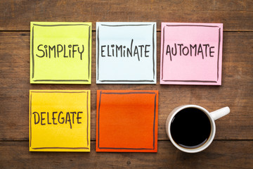 Task management concept: simplify, eliminate, automate, delegate