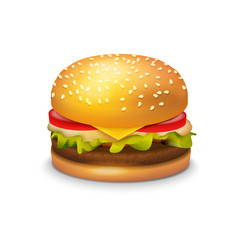 Big Hamburger Sandwich on white background, Vector Icon