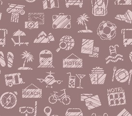 Travel, vacation, Hiking, leisure, seamless pattern, pencil shading, brown, color, vector. Different types of holidays and ways of travelling. Pink drawings on a brown background.