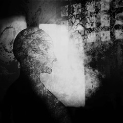 Meditation. Abstract silhouette woman. Fantasy image of the soul, mind. Concept image for card, meditation, yoga studio, spirituality. Photo manipulation, illustration.