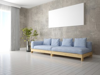 Mock up a modern living room with a stylish comfortable sofa and hipster background.