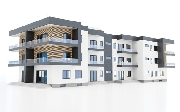 3d contemporary apartment block on a white background 3d illustration