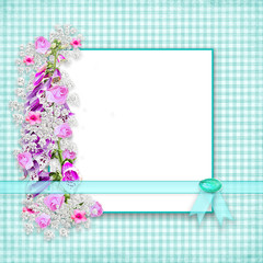 Fresh Garden Flowers ong teal gingham background with text area in white.  Teal faux ribbon and gem.