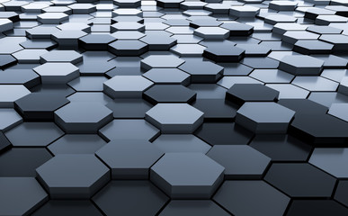 Black abstract hexagons background pattern 3D rendering - 3D Illustration