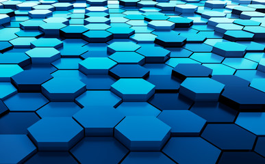 Blue abstract hexagons background pattern 3D rendering - 3D Illustration