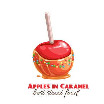 red apples in caramel