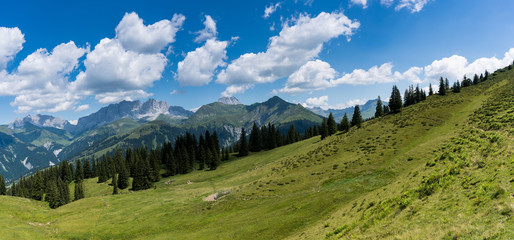 Wall Mural - mountain landscape panorama in the Swiss Alps above Klosters