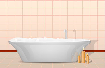 Bathtub and candles concept background. Realistic illustration of bathtub and candles vector concept background for web design