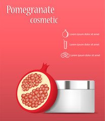 Pomegranate cosmetic concept background. Realistic illustration of pomegranate cosmetic vector concept background for web design