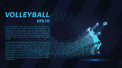 A volley of particles. Volleyball consists of circles and points. Vector illustration