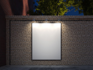 Blank banner with black illuminated frame on brick walls, 3d rendering