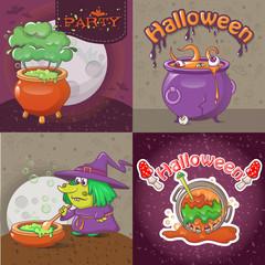Cauldron pot halloween banner concept set. Cartoon illustration of 4 cauldron pot halloween vector banner concepts for web