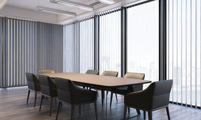 Modern bright meeting room with large panoramic windows, 3d rendering
