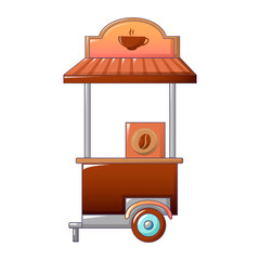 Coffee street shop icon. Cartoon of coffee street shop vector icon for web design isolated on white background