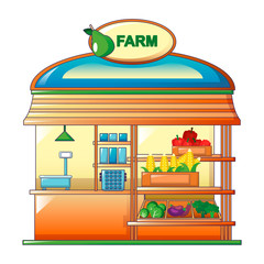 Farm vegetables street shop icon. Cartoon of farm vegetables street shop vector icon for web design isolated on white background