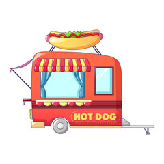 Hot dog street shop icon. Cartoon of hot dog street shop vector icon for web design isolated on white background