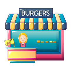 Burgers shop icon. Cartoon of burgers shop vector icon for web design isolated on white background