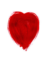 Bright red watercolor heart. Design element for Valentine's day.