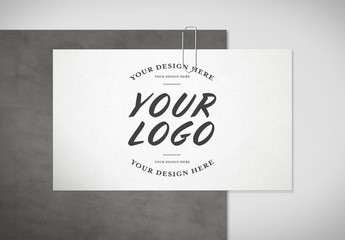 Business Card on a Concrete Plate Mockup