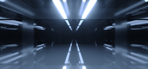 Futuristic Sci Fi Dark Room With A Lot Of Lights And Reflections With Blurred Side Lights 3D Rendering