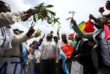 Passengers celebrate after arriving at Asmara International Airport aboard an Ethiopian Airlines flight in Asmara
