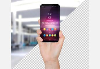 Hand Holding a Smartphone Mockup