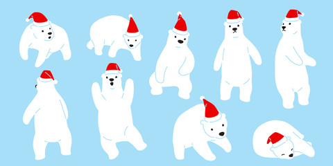 Bear vector Christmas polar bear Santa Claus hat icon logo teddy cartoon character illustration doodle