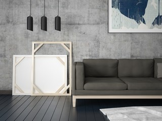 Mock up a fashionable living room with a compact comfortable sofa and a trendy hipster background.