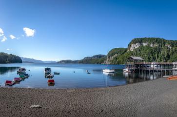Pier Dock in Bahia Mansa Bay at Nahuel Huapi Lake - Villa La Angostura, Patagonia, Argentina