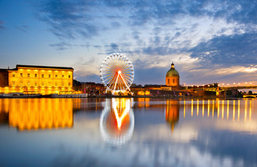Fotomurales - Ferries Wheel river. Toulouse, France