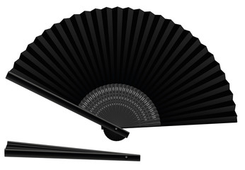 Black hand fan, open and closed, three-dimensional, realistic - isolated vector illustration on white background.