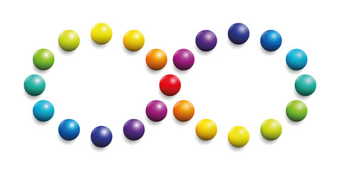 Color spectrum formed by balls as infinity symbol. Illustration over white background.