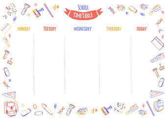 School timetable for pupils or students with 5 days of week with doodle colorful school supplies. Organize your day