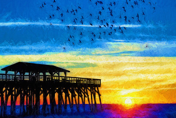 Seagulls Flying Around Myrtle Beach State Park Pier at Sunrise