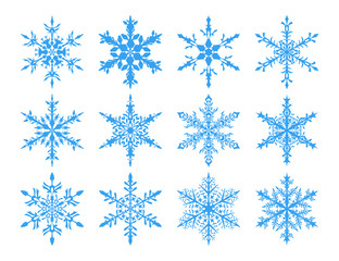 Set of light blue snowflakes on white background.