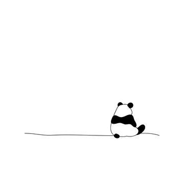 Back view lonely panda, vector illustration