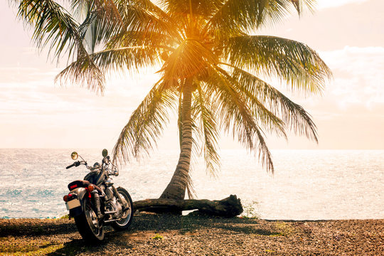 Summer, a motorcycle trip to the sea and palm trees