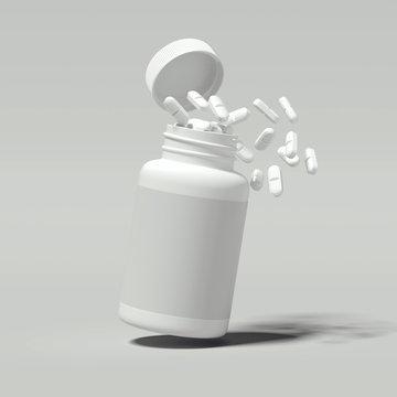 White pills spilling out of white bottle, 3d rendering.