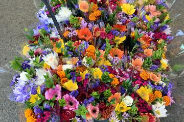 Basket of Vibrant Flower Bouquets