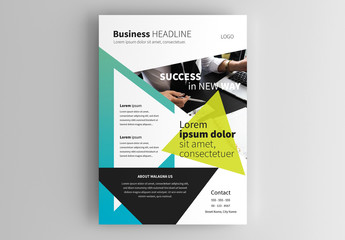 Business Flyer Layout wth Triangular Elements
