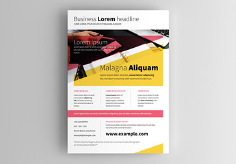 Business Flyer Layout with Pink and Yellow Accents